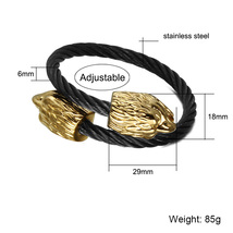 (black gold)HIP Punk Double Eagle Heads Men Cuff Bracelet Bangle Gold Co... - $34.00