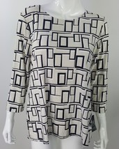 JM Collection Women Large Black White Geometric Swirl Career Blouse Stre... - $18.69