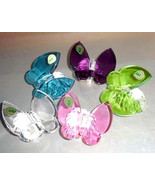 Waterford Crystal Butterfly 5 PC. Paperweight Pink-Amethyst-Aqua-Green-C... - $825.00