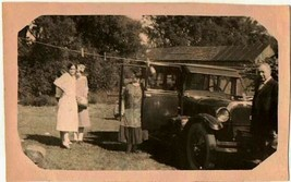 Old Antique Vintage Photograph People Standing By Old Antique Car Vehicle - $6.93