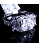 Ladies 14K White Gold Fn Lab Diamond Solitaire Princess Cut Enagement Ri... - $49.99