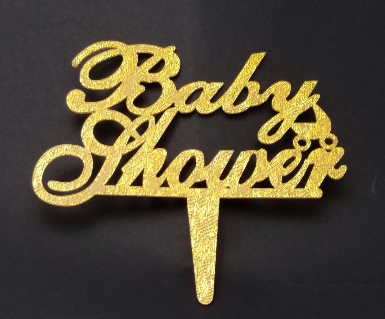 "3 pcs Baby Shower signs gold sparkle acrylic 5"" x 3"" cake top pick"
