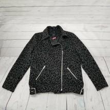 Forever 21 Womens S Black Gray Leopard Moto asym zipper wool jacket wint... - $35.52