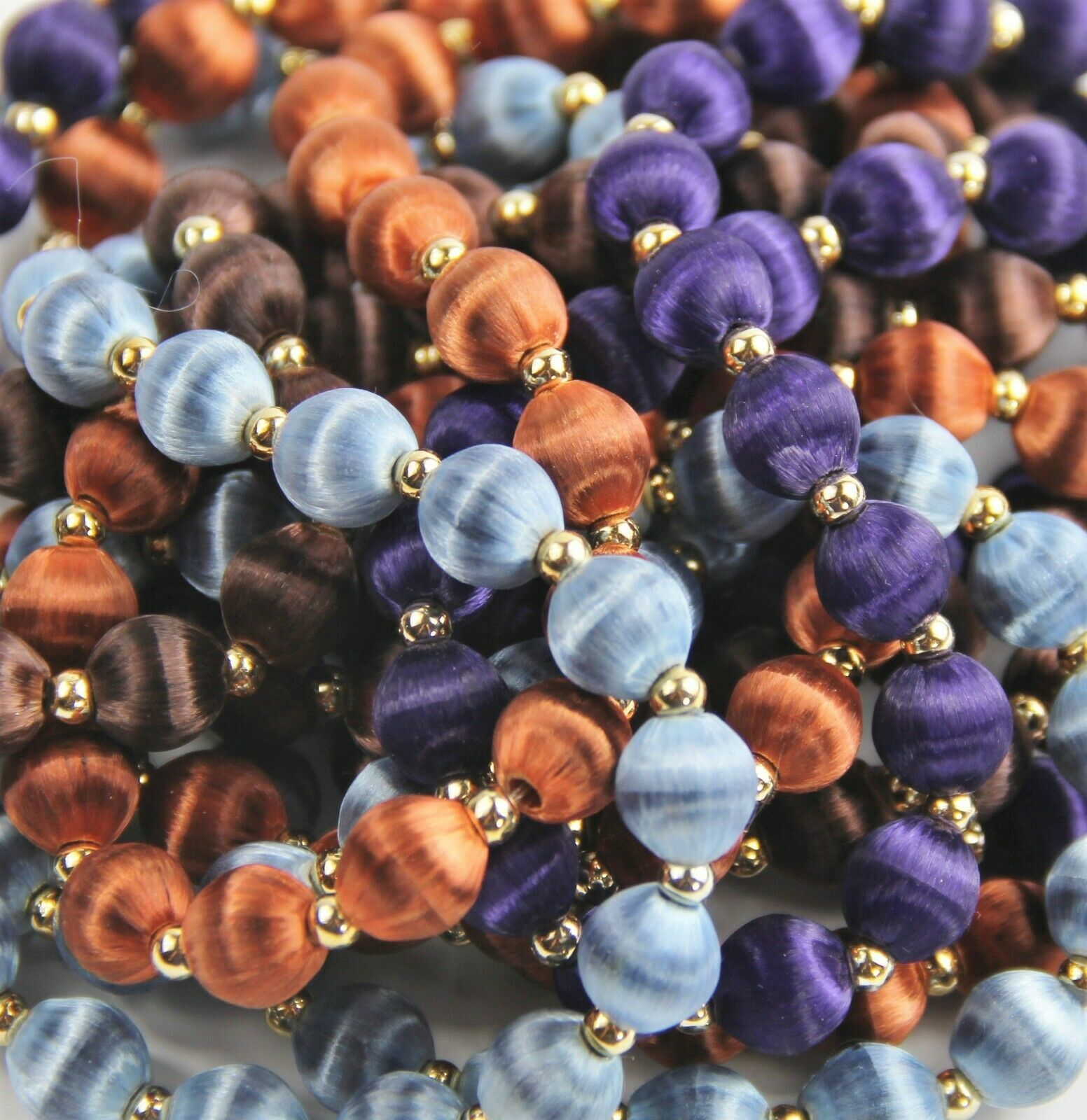 ESTATE VINTAGE Jewelry LOT OF 4 SILK THREAD BEAD NECKLACES PURPLE BLUE BROWN