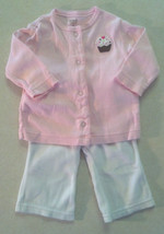 Girl's Size 3 M Months Two Piece Carter's Outfit Pink Cupcake Cardigan & Pants - $13.00