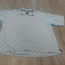 SEAN JOHN Button Front Shirt  XL  Blue Short Sleeves  Polyester - $12.87