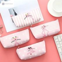 Kawaii Pink Panther PU Pen Pencil Bag Storage Bag Student Stationery School - $3.68