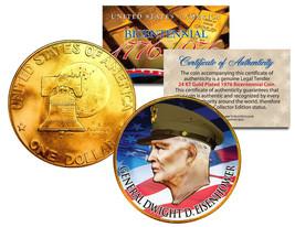 GENERAL DWIGHT D EISENHOWER Colorized 1976 IKE Dollar U.S. Coin 24K Gold... - $9.85