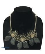 Silver smoke Gray  Crystal Rhinestone chunky flower statement necklace N2 - $31.60
