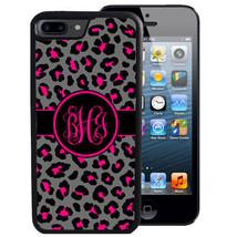 MONOGRAM CASE FOR iPHONE X 8 7 6 5 SE 5C PLUS RUBBER COVER PINK BLACK LE... - $13.98