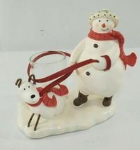 Hallmark Mitford Snowman Christmas Candle Holder Display - $14.84