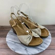 Dansko Naomi Tan Leather Linen Slingback Wedge Sandals Womens Size 40/10 - $39.95