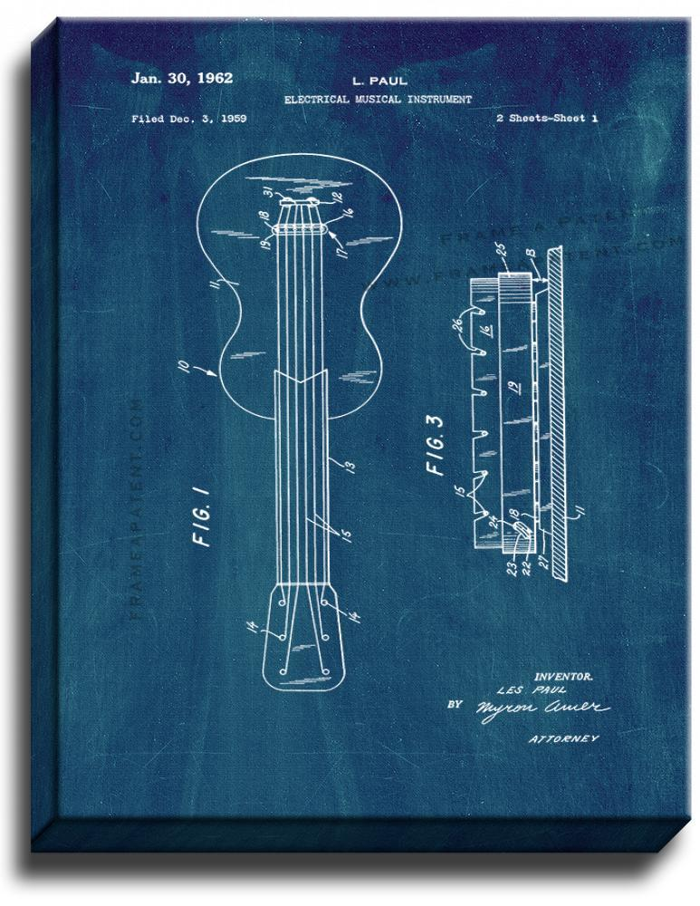 Primary image for Electrical Musical Instrument Patent Print Midnight Blue on Canvas