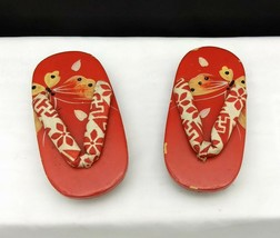 Vintage Japanese Wooden Lacquer Geisha Geta Sandals Shoes - $14.80
