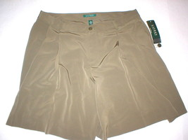 New Womens Office Dress Shorts 10 Olive Green Silky Ralph Lauren Work NW... - $58.05