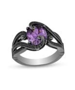 Enchanted Disney Ursula Oval Amethyst 1/4 CT.Black CZ Diamond in Silver rings - $112.00