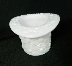"Vintage Fenton Toothpick Holder Milk Glass Top Hat Daisy & Button 3"" Wide - $16.82"