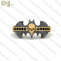 Two Tone Skull Engagement Ring 0.15CTTW Black Diamond Bat Logo Skull Rin... - $73.59+