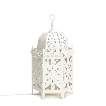 Table Lantern Lamp, Rustic Metal Bedside Table Lamp White - $111.06