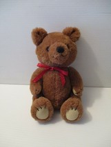 Dakin Teddy Bear Vintage Plush Jointed Wind Up Musical Red Bow 1981 Stuffed - $24.00