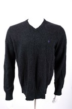 Polo Ralph Lauren Men's Sweater L Dark Gray V-Neck 100% LambsWool Pullover Knit - $34.64