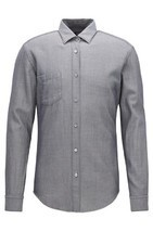 NEW HUGO BOSS GRAY SELVEDGE DENIM TWILL STRIPED RONNI_P SLIM FIT DRESS S... - €65,29 EUR