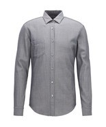 NEW HUGO BOSS GRAY SELVEDGE DENIM TWILL STRIPED RONNI_P SLIM FIT DRESS S... - $74.25