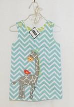 MudPie Giraffe Shortall Turquoise Lime Green Jumper 9 to 12 Months - $29.00