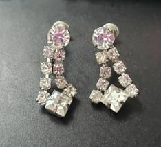 Vintage Screw On Earrings Clear Stone Dangle - $12.99