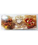 Vacaciones Oro By Indiana Cristal Navidad Candy Servir Plato Juego de 3 - $21.77