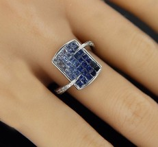 ¦Women's Modern 14k Solid Gold with French Cut Sapphires & Diamonds Ring... - £629.65 GBP