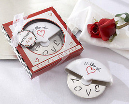 50 A Slice of Love Stainless-Steel Pizza Cutter Bridal Wedding Favors  i... - $133.00