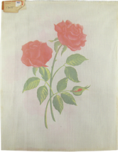 """Vintage 1970's Hand Painted Needlepoint """"1305"""" Long Stem Pink Carnations... - $28.35"""