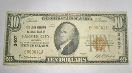 1929 $10.00 National Bank Note Farmer City, IL Low Serial Number VG RARE! C367 - $327.81