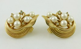 TRIFARI White Faux Pearl and Rhinestone Gold-Tone Clip-on EARRINGS - FRE... - $30.00