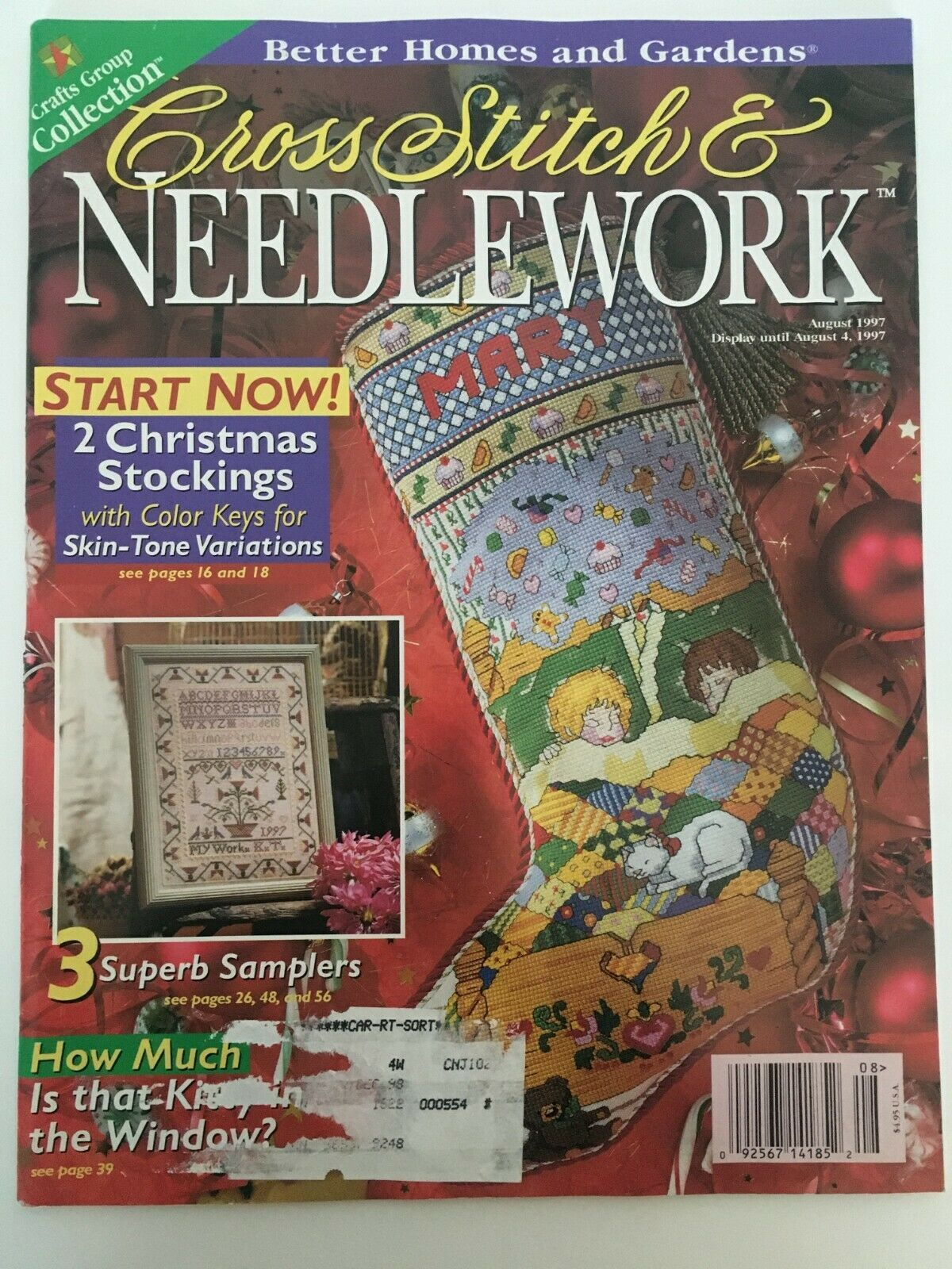 Better Homes and Gardens Cross Stitch & Needlecraft Aug 1997 Stockings Samplers - $4.00
