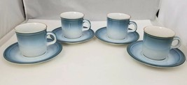 Nikko Gradiance Coffee Cup & Saucer Set of 4 Azure Leafette Dish Microwa... - $29.02