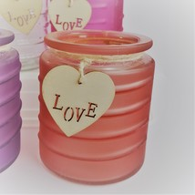 Glass Candleholder for Votive Tea Light Candles, Wood Love tag Purple Red Pink image 2