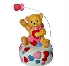 San Francisco music box Teddy Bear rotating figurine Valentines day hear... - $38.65