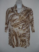 Chicos 2 12-14 Womens Top Blouse Animal Print Tan Brown Cowl Neck Tunic ... - $27.83