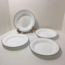 "4 Rimmed Soup Cereal Bowl Celestial Blue Corelle 8.5"" Swirl Blue Rim  - $24.18"