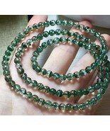 5.2mm Natural Green Phantom Quartz Crystal Round Beads Bracelet  0607C81 - $84.15