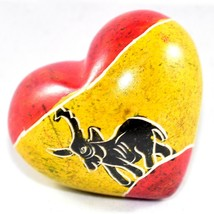 SMOLArt Hand Carved Soapstone Miniature Red Yellow Elephant Heart Figuri... - $8.90