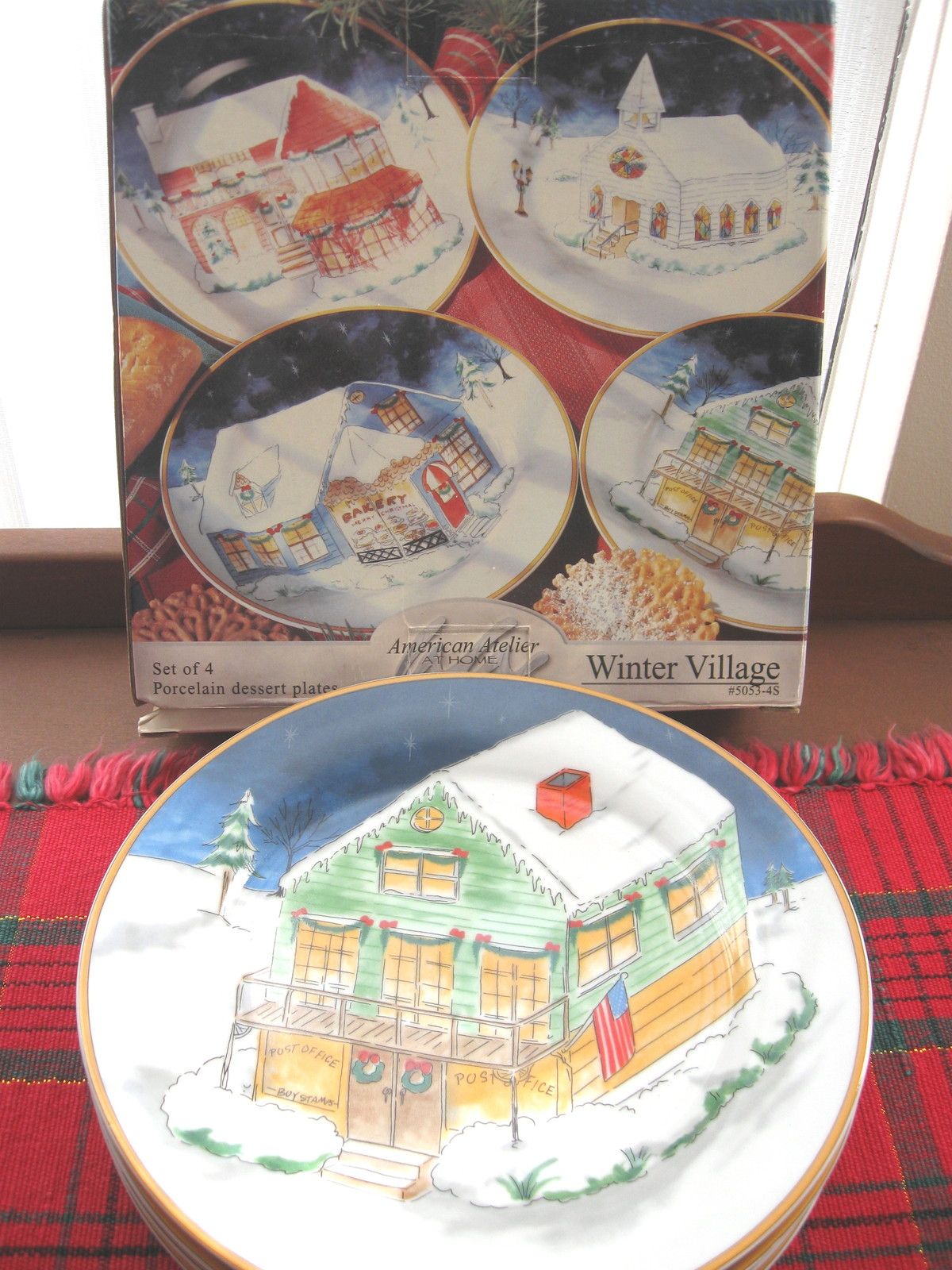 Set of Four (4) American Atelier Winter Village Porcelain Dessert Plates - New i