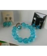 Multi-Faceted Blue Glass Bracelet & Earrings - $34.65