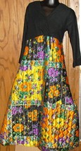 Vintage 70s Hippie Funky MOD Maxi Dress colorful floral QUILTED skirt size 10 - $59.99