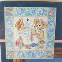 Vintage 1999 Sunset BATHTIME BEAR Stamped Cross Stitch Kit 13112 Kathryn White - $14.96