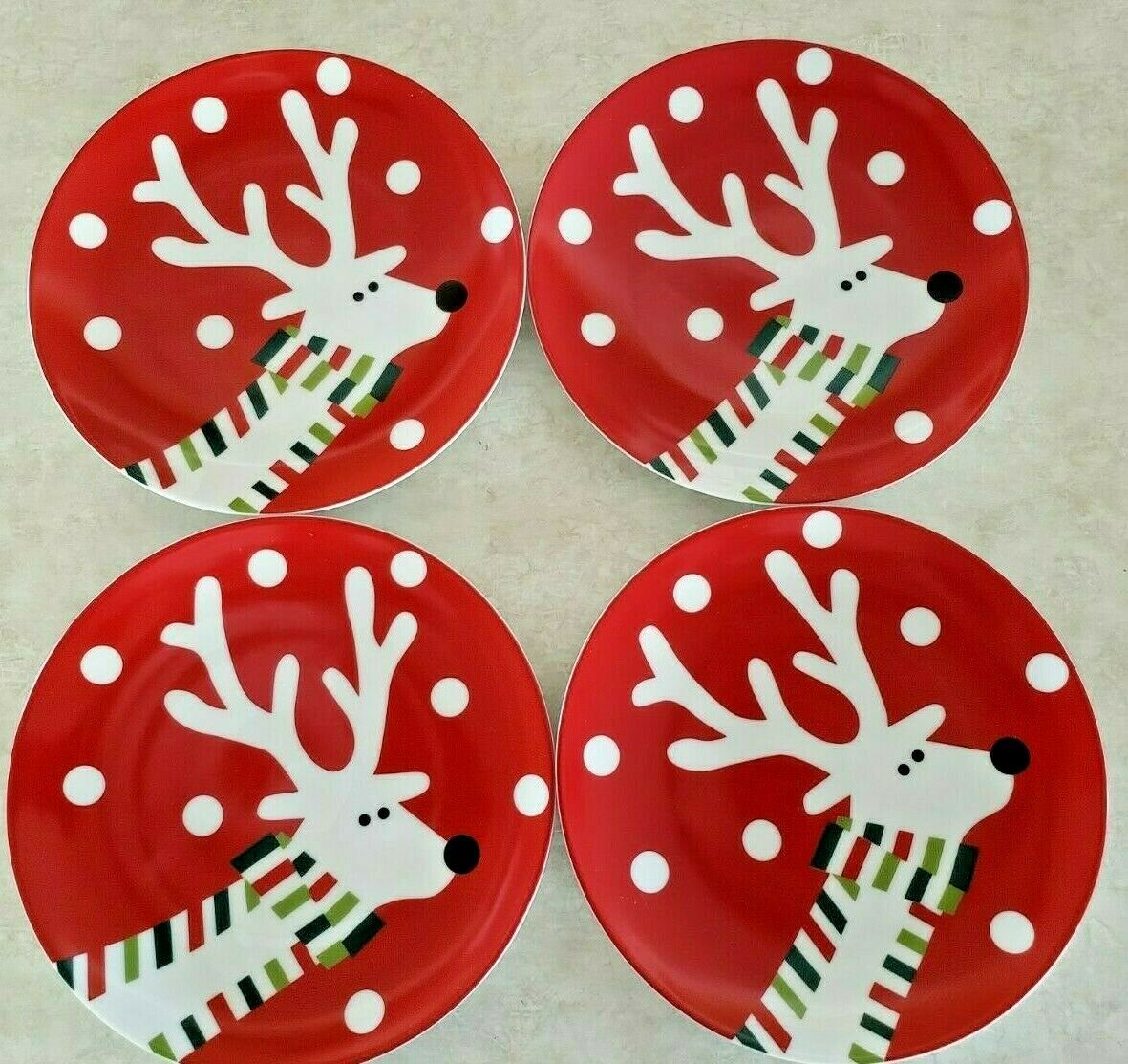 "Primary image for Crate & Barrel Reindeer 6 Salad Plates 7 1/2"" Diameter Circa 2008"