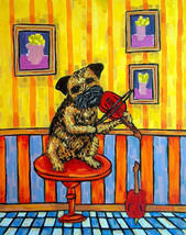 animal Art oil painting printed on canvas home decor dog playing the - $12.99+