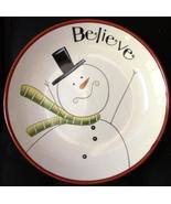 "Lang Redware ""Believe"" Snowman Plate 8 inches unused - $9.00"